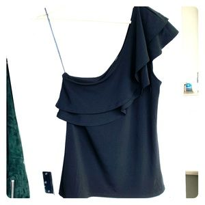 H&M one shoulder top - black size small